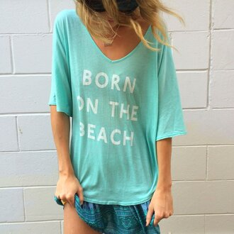 t-shirt beach mint top beach style cover up