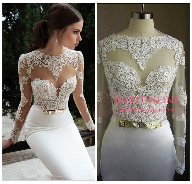 Celebrity prom dress: 2014 white lace bridemaid dress $149.99 each at Celebsbuy.net