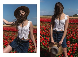 the fashion fraction blogger belt hat jewels white top lace top denim skirt mini skirt
