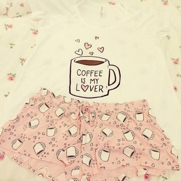pjs pink shirt pajamas white coffee coffee mug cute pink shorts t-shirt pj summer top love pink spring trends 2014 spring fashion