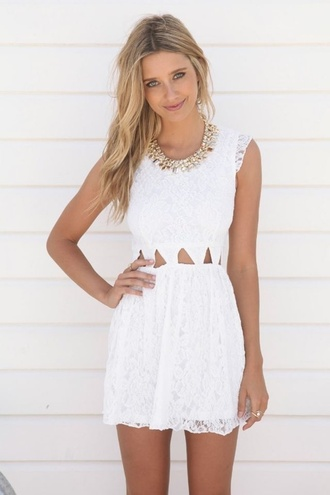 dress white white dress lace dress sleeveless off-white triangle cute dress