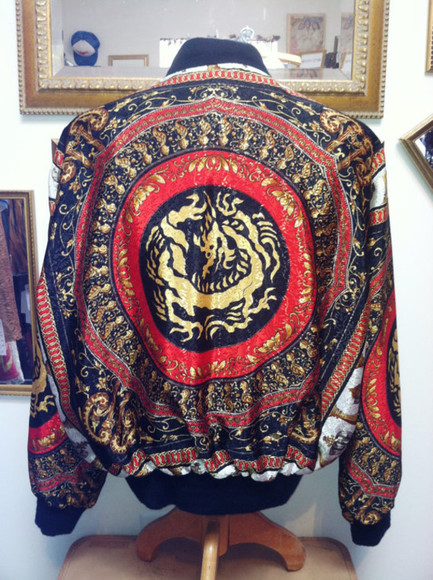 vintage jacket baroque bomber jacket red gold royal