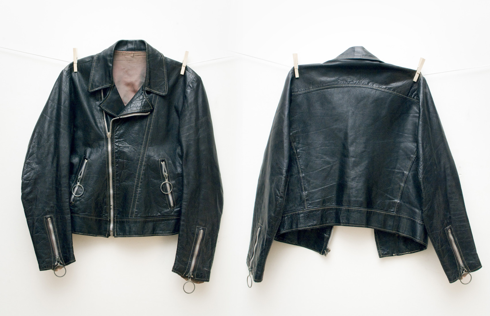 Leather biker jacket - Pop Sick Vintage