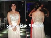 dress,gold & champagne scoop top formal dress,embellished dress
