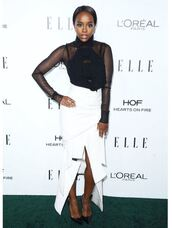 skirt,white,white skirt,Aja Naomi King,top,see through,black,black and white,pumps,asymmetrical skirt,asymmetrical