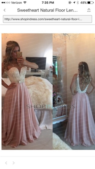 dress light pink pearl backless prom dress