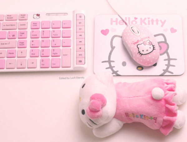 kawaii hello kitty laptop computer keyboard mouse japanese pink girly pastel computer accessory