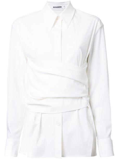 Jil Sander shirt women spandex layered draped white wool top