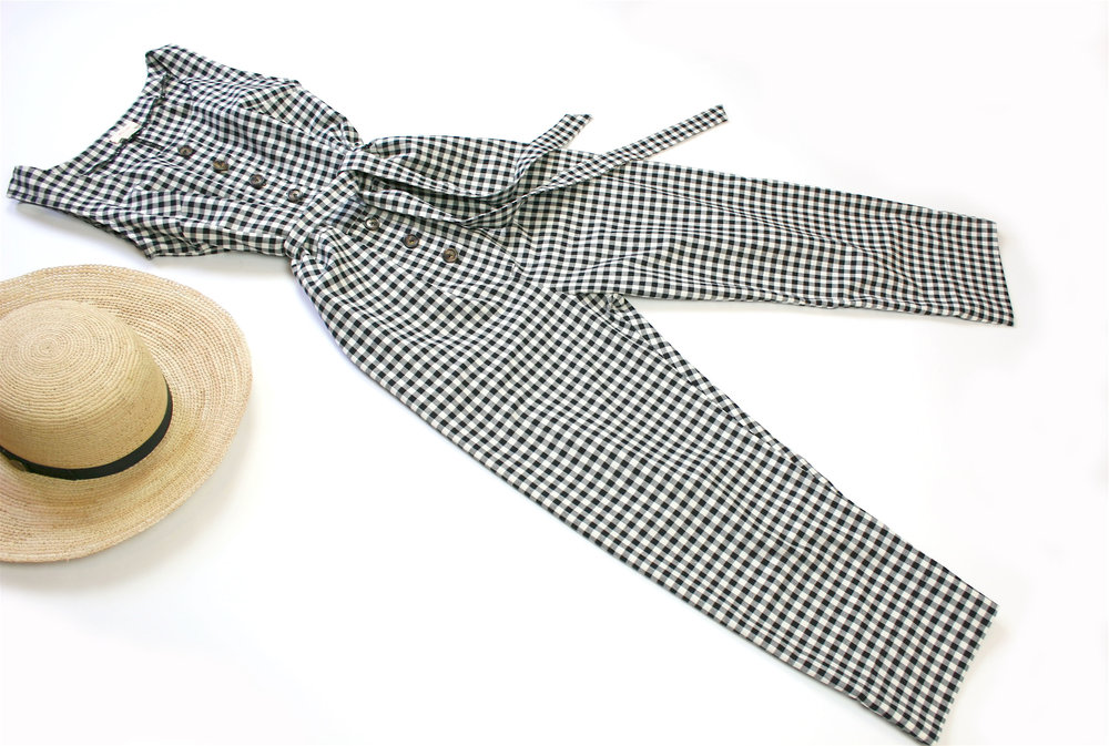 Market Jumpsuit - Black & White Gingham Cotton Twill or Black Linen *Pre-order*