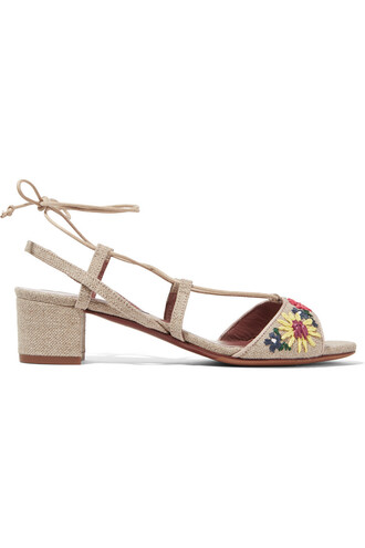 embroidered sandals floral beige shoes