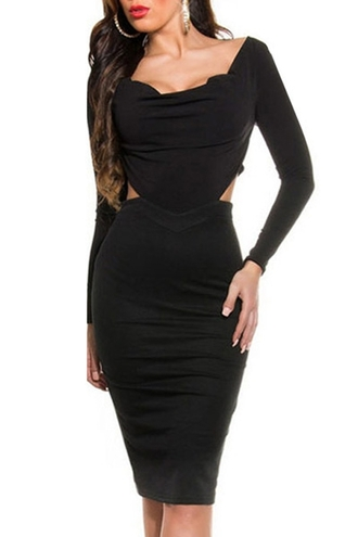 dress black dress black little black dress long sleeve dress backless backless dress clubwear club dress bodycon dress edgy elegant dress classy midi dress date outfit