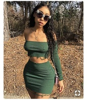 skirt,green,ripped,cropped,short