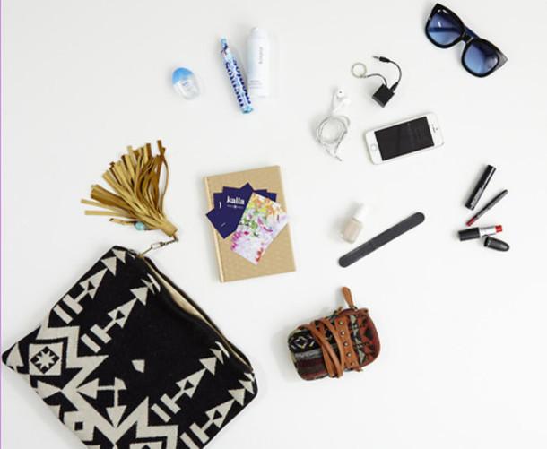 bag tumlr vintage aztec tassel makeup bag cosmeticbag