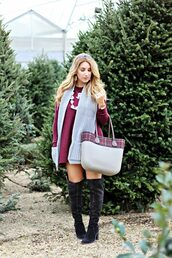 januaryhart,blogger,dress,scarf,bag,shoes,jewels,sweater dress,knee high boots,boots,winter outfits
