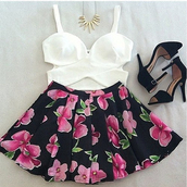 skirt,clothes,tank top,floral,flowers,black,white,crop tops,bustier,bralette,gold,necklace,pumps,cut-out,shirt,bag,shoes,jewels,sweater,hair accessory,floral skirt,print,heels,straps,strap heels,pretty,pretty outfit,outfit,cute outfits,t-shirt,black floral skirt,black and floral,black skirt,black heels,shorts,blouse,floral skater skirt,pattern,white crop tops,high heels,skater skirt,short,top,fashion,girl,hot,nice,floral print skirt,dress,white bralet,slit,weheartit,cream,basic,i'm looking for a floral print skater skirt,sweet,crop,party,low cut,style,classy,spring outfits,summer,white top,criss cross top,white black flowers pink,bustier top,floral dress,bustier crop top
