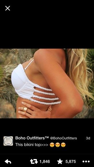 swimwear white bikini braided straps