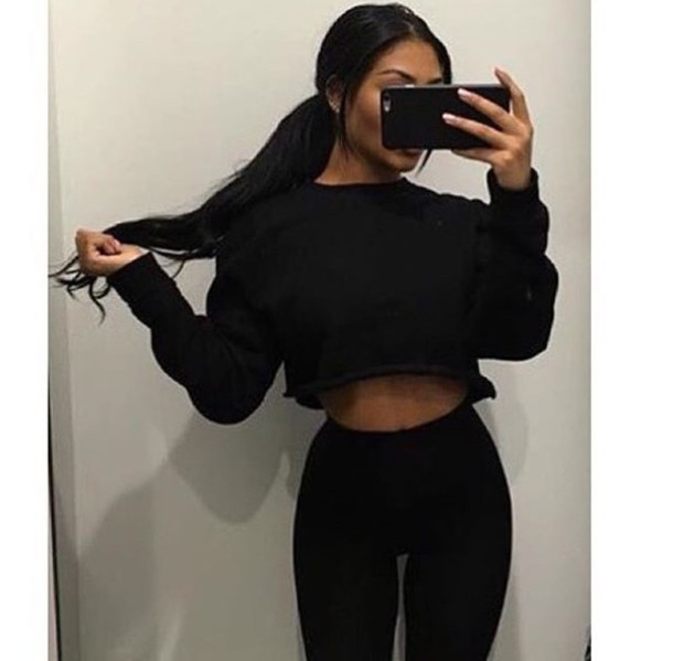ef692ed5d5df58 shirt jumper crop crop tops cropped sweater sweatshirt tight tights baggy  sweaters black joggers tracksuit cropped