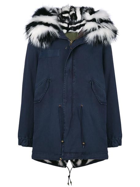 Mr & Mrs Italy coat parka fur women midi dog fit cotton blue
