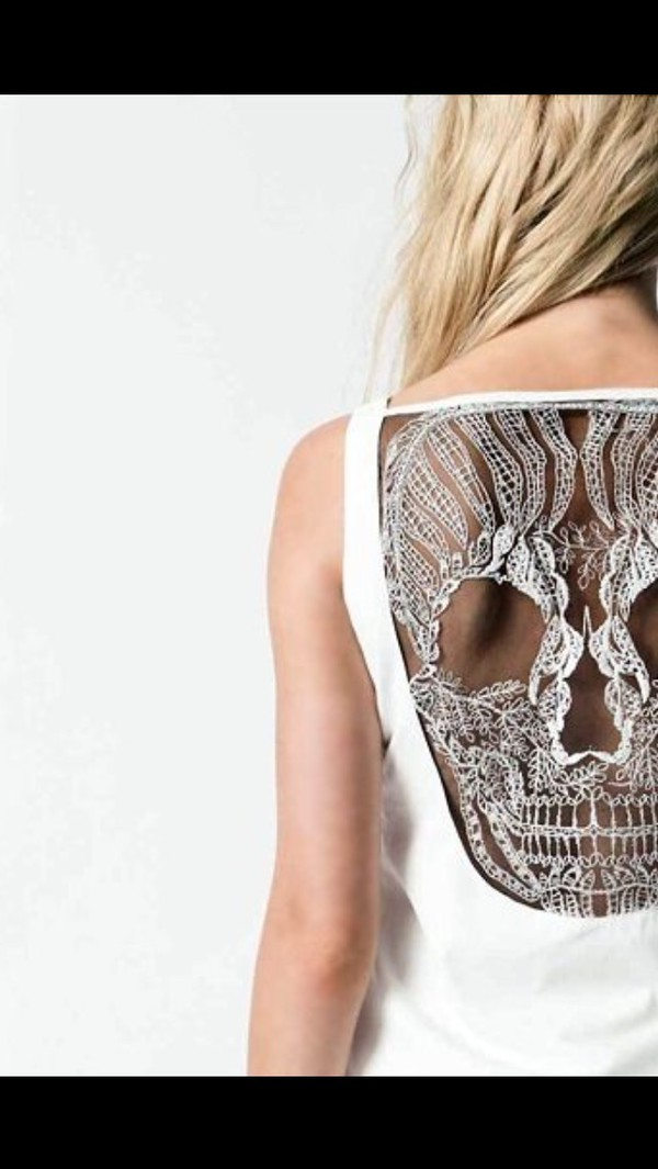 top skull cut back skull top see through