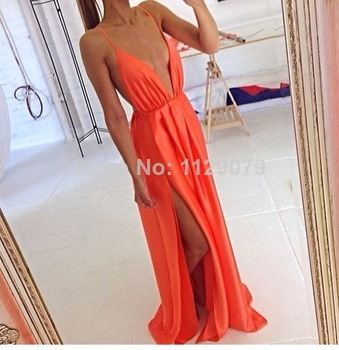 Aliexpress.com : Buy new 2014 hot summer fashion satin club women sexy dress prom backless open high split back red party chiffon maxi dress OM225 from Reliable dresses jacket suppliers on sexy dress 2014