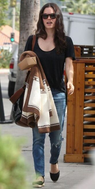 cardigan top fall outfits jeans rachel bilson