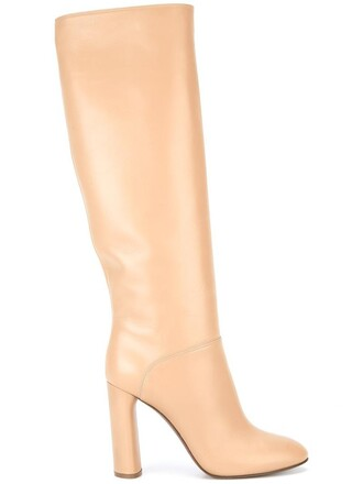 women boots leather nude shoes
