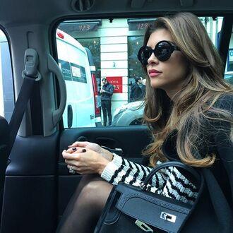 sunglasses shiva safai celebrity round sunglasses black sunglasses sweater striped sweater bag black bag hermes bag