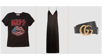 t-shirt band merch slip dress black dress logo belt gucci belt band t-shirt dress