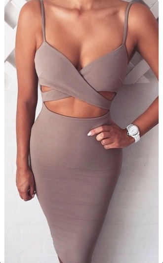dress taupe bodycon dress