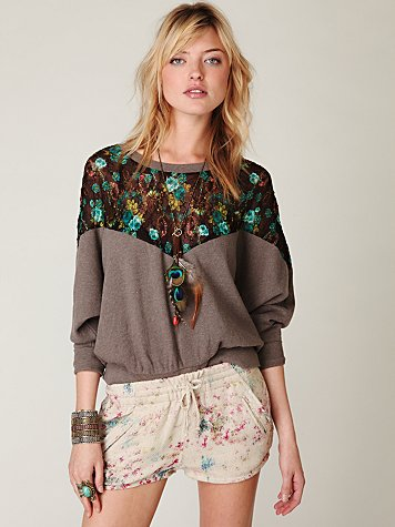 Free people lace inset pullover sweatshirt at free people clothing boutique