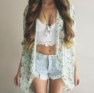 floral kimono acid wash denim shorts ripped shorts summer shorts summer outfits white crop tops distressed denim shorts crop tops necklace boho jewelry kimono long hair wavy hair summer cute outfits cute outfit idea tumblr tumblr outfit tassel mint floral
