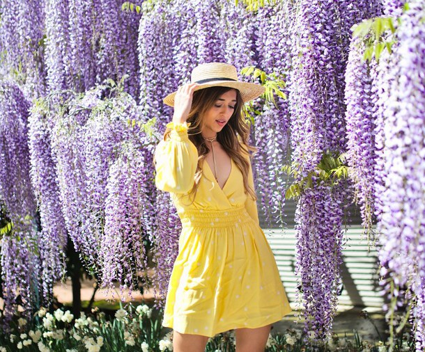 cuppajyo blogger dress hat bag shoes summer dress straw hat yellow dress spring outfits