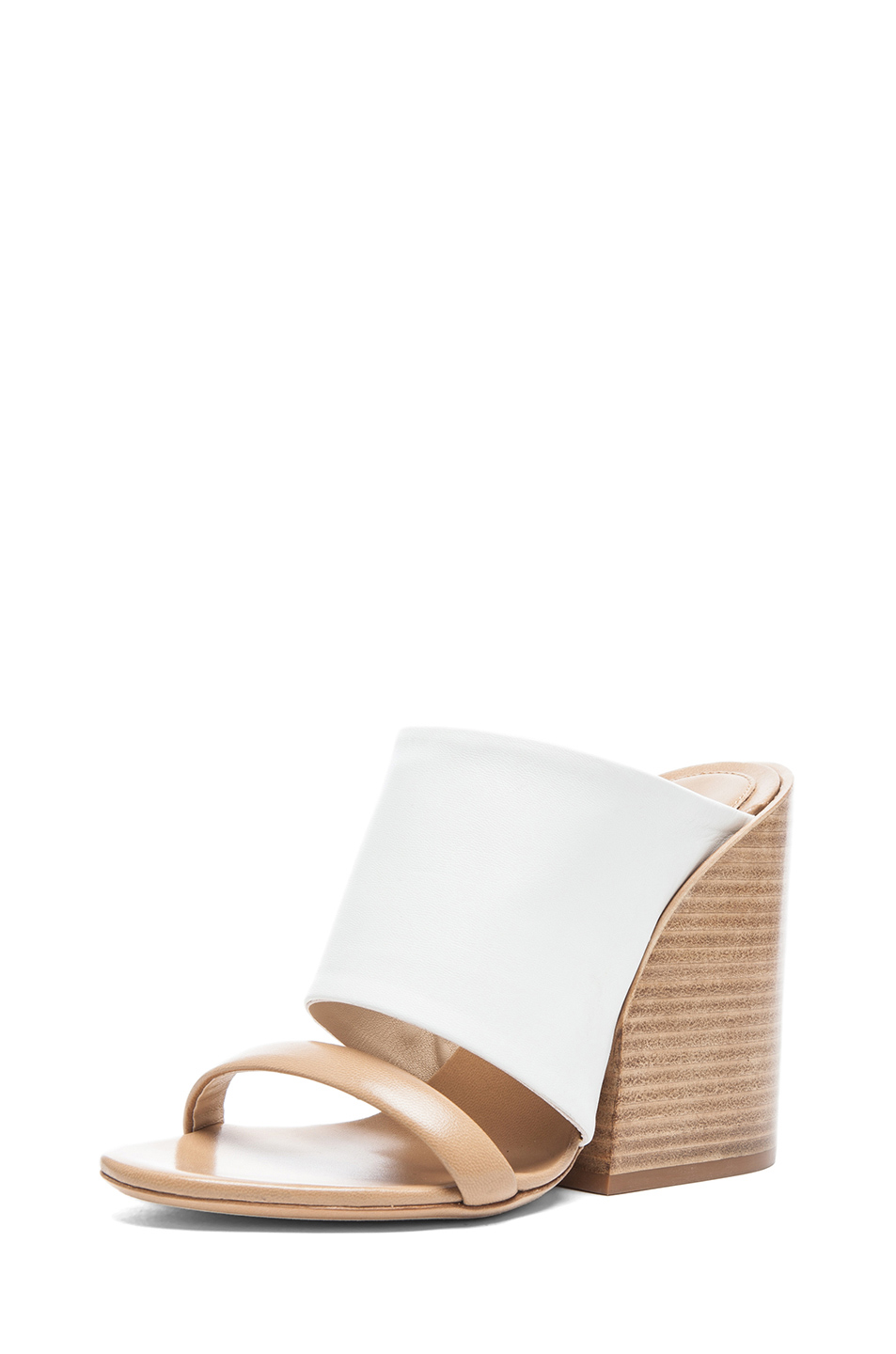 Chloe|Mule Nappa Leather Sandals in White & Tan