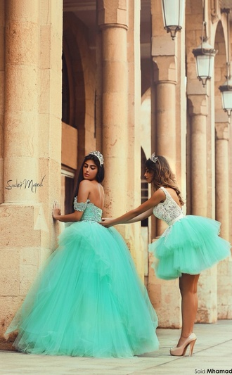 princess short long wedding green dress sparkle bag dress sister quinceanera dress