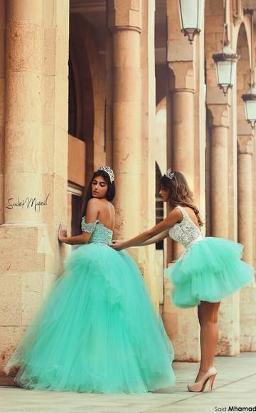 princess short long wedding clothes popular green dress
