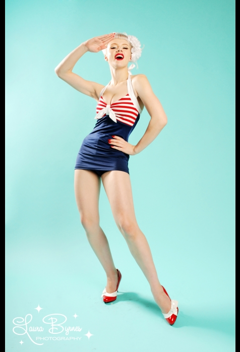 The hello sailor bettie one piece swimsuit from pinup couture
