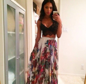 skirt black crop tops lace spaghetti strap high waisted floral
