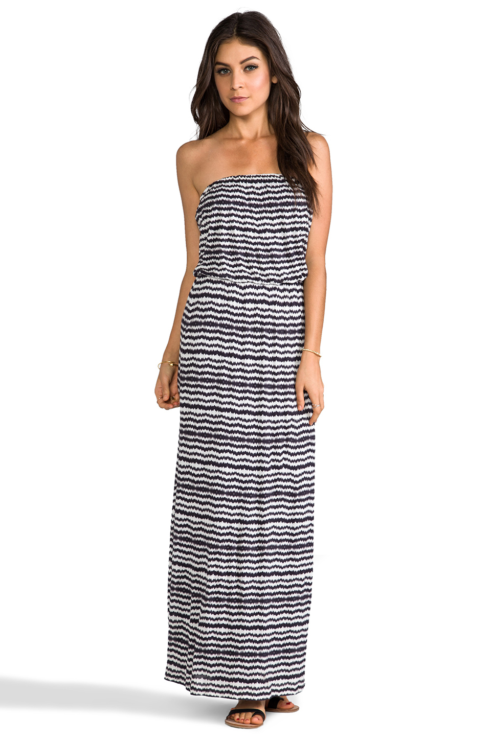 Velvet by Graham & Spencer Velvet Aztec Stripe Glory Dress in Black | REVOLVE