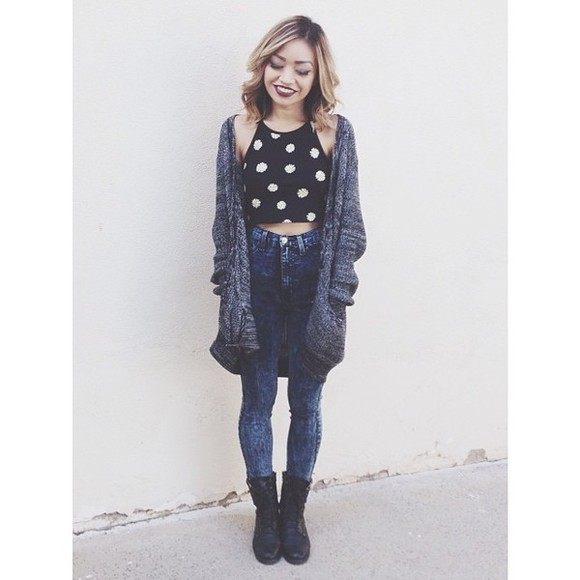 acid wash cardigan oversized cardigan polka dots