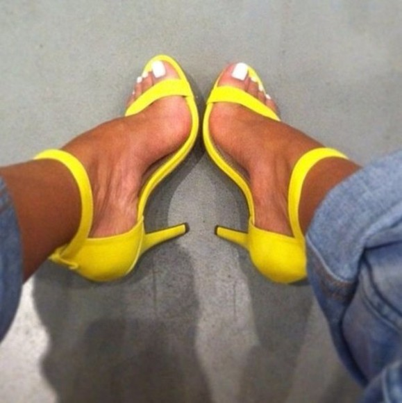 shoes yellow shoes yellow summer heels