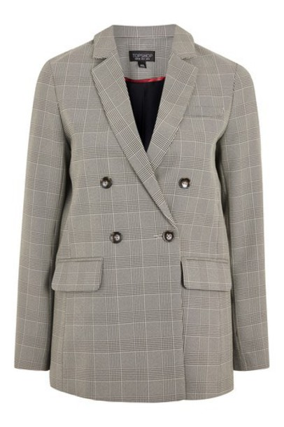 Topshop blazer double breasted taupe jacket