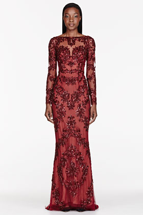 Zuhair Murad Burgundy Tulle Embellished Pillar Gown for women | SSENSE