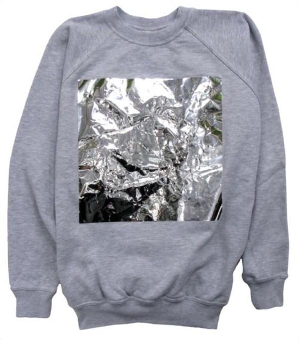 sweater grey grey shiny metallic sweatshirt crewneck