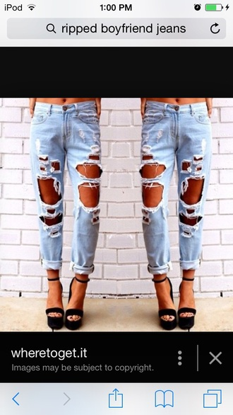 jeans ripped boyfriend high waisted