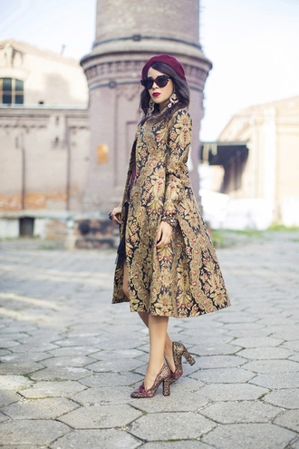 macademian girl blogger beret jacquard coat dress shoes jewels bag