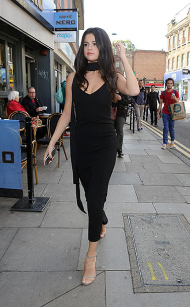 dress black slip dress black dress slip dress maxi dress sandals high heel sandals Silver sandals silver high heels sandals selena gomez celebrity style celebrity all black everything party dress party outfits
