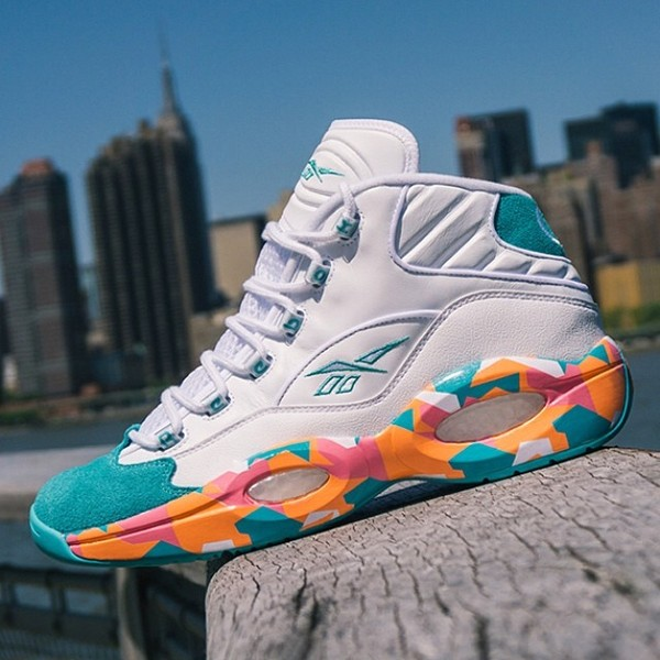 reebok question mens. reebok question mid - men\u0027s basketball shoes white/solid teal/fluorange/victory pink mens