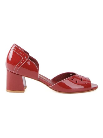 heel chunky heel women vinyl pumps red shoes