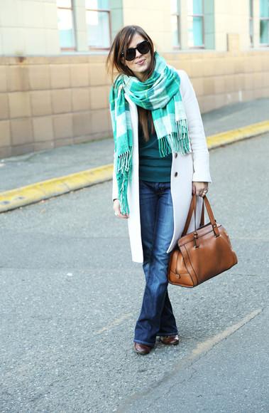 coat blogger leather bag bag jeans dress corilynn scarf sunglasses blanket scarf