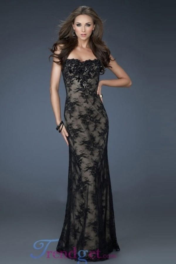 dress sheer black lace gown little black dress